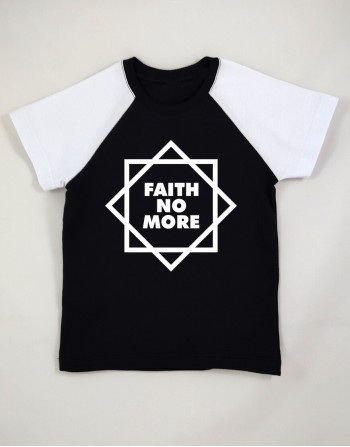 Camiseta Raglan Infantil Faith No More Manga Curta Preta