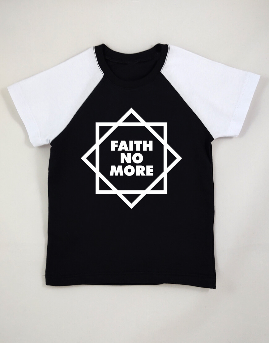 Camiseta Raglan Infantil Faith No More Manga Curta Preta popup