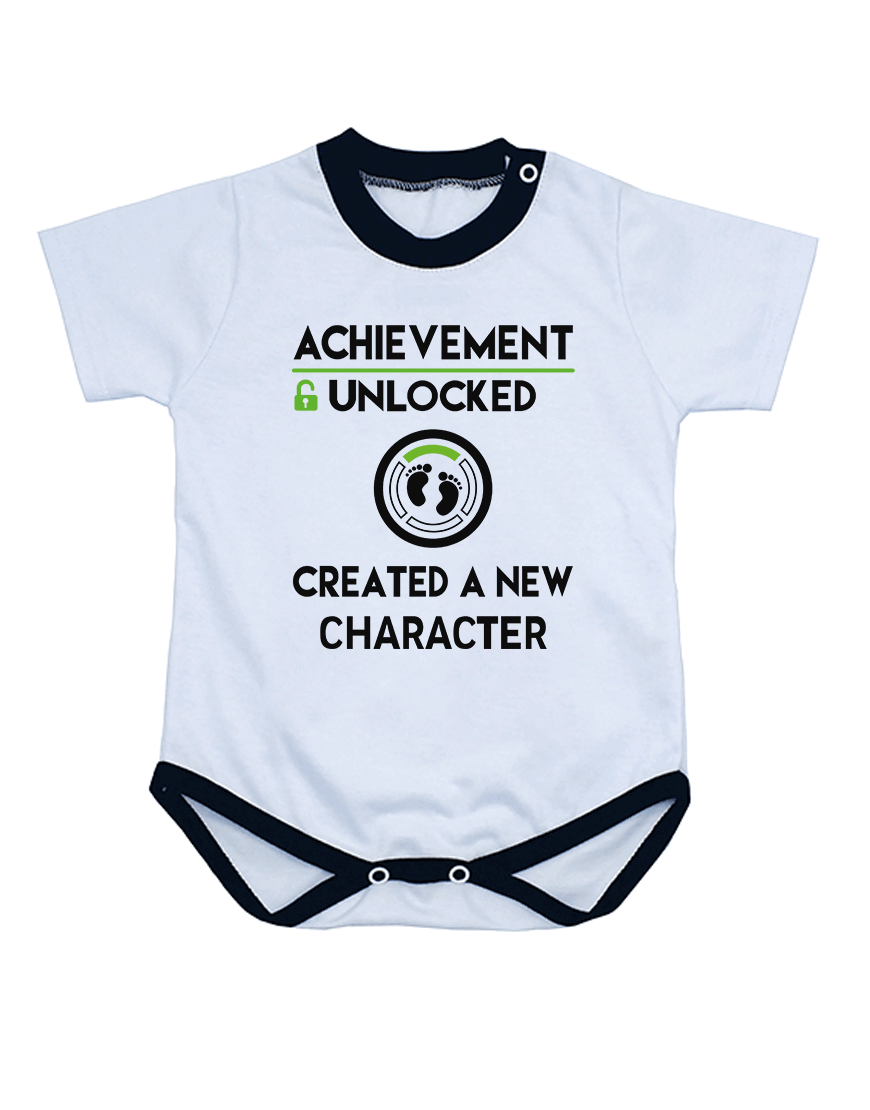 Body Gamer Achievement Unlocked Manga Curta Branco popup