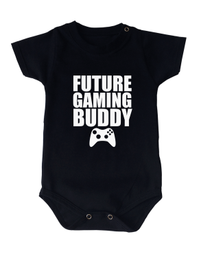 Body Bebê Future Gaming Buddy Manga Curta Preto