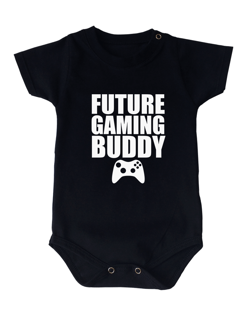 Body Bebê Future Gaming Buddy Manga Curta Preto popup