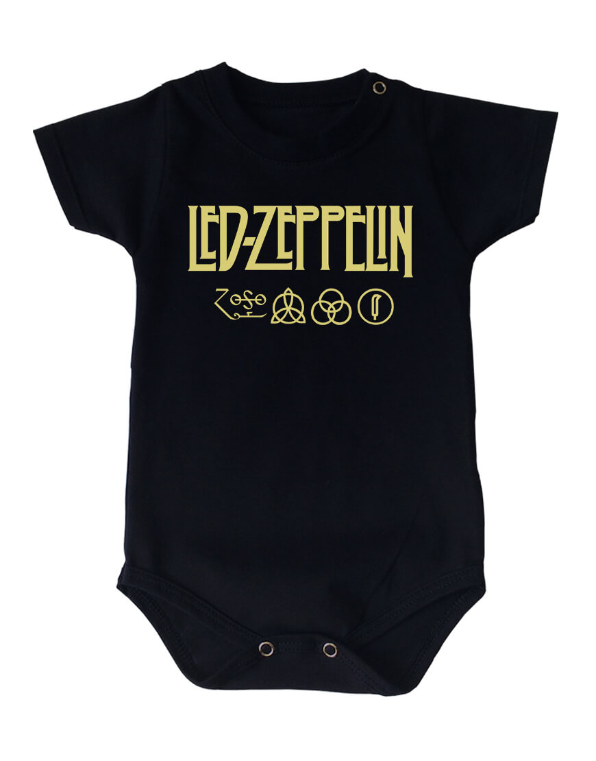 Body Led Zeppelin Manga Curta Preto popup