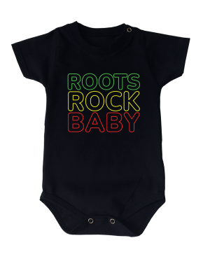 Body Bebê Roots Rock Baby Manga Curta Preto