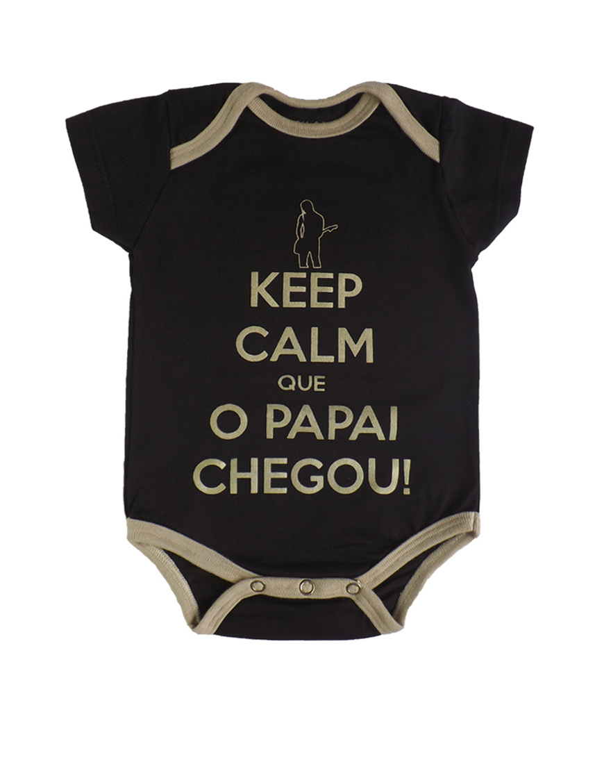 Body Keep Calm Que o Papai chegou Manga curta Preto popup