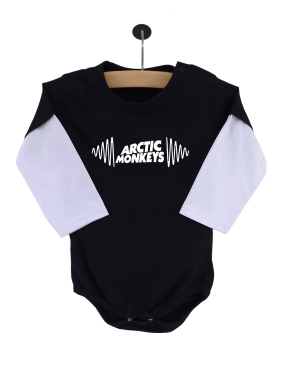 Body Bebê Arctic Monkeys Manga Longa Preto