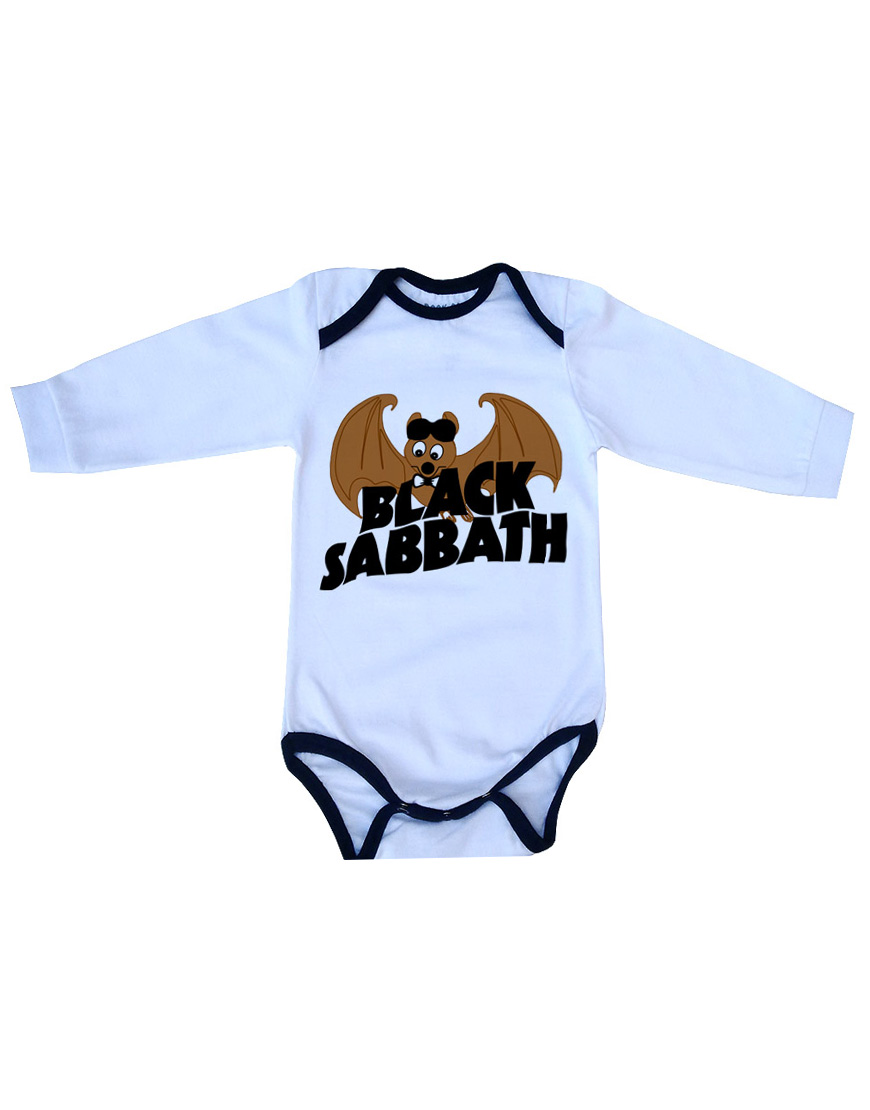 Body Black Sabbath Manga Longa Branco popup