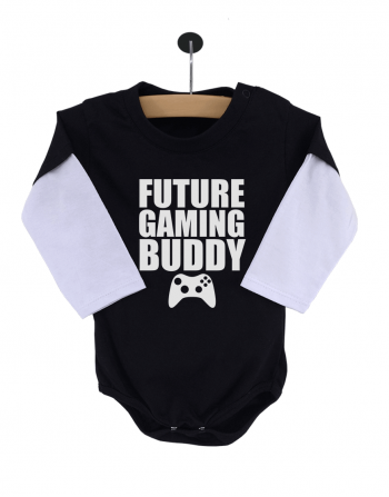 Body Bebê Future Gaming Buddy Manga Longa Preto