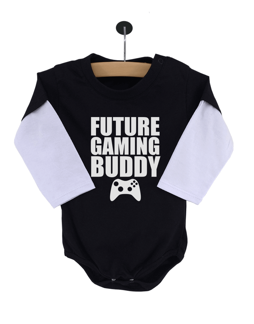 Body Bebê Future Gaming Buddy Manga Longa Preto popup