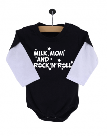 Body Bebê Milk, Mom and Rock 'N' Roll Manga Longa Preto