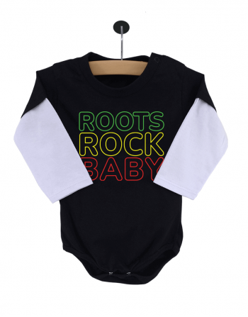 Body Bebê Roots Rock Baby Manga Longa Preto