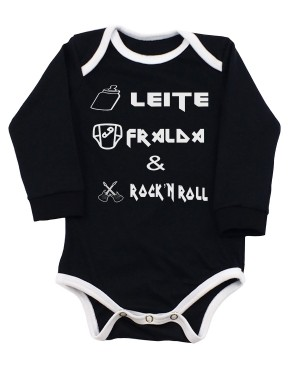 Body Leite, Fralda e Rock and Roll Manga Longa Preto