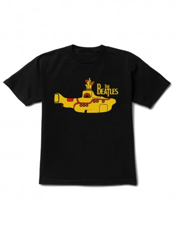 Camiseta Infantil The Beatles Manga Curta Preta